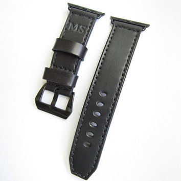 Engrave Black Apple Watch Strap, Engrave initials