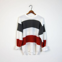 Retro 80s Sweater Loose Knit Sweater Striped Gray White Red Basic Pullover 80s Boyfriend Grunge Slouchy Men's Large