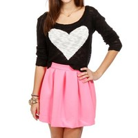 Black Slub Heart Top