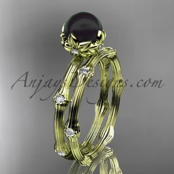 14k yellow gold Tahitian Black Pearl vine and leaf engagement set ABP38S