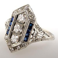 Art Deco Filigree Diamond & Blue Sapphire Engagement Ring 18K White Gold - EraGem