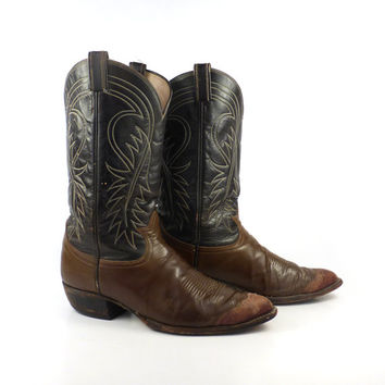 Men's Cowboy Boots Vintage 1980s Tony Lama Lizard toe Brown size 11