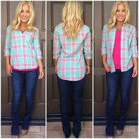 Pretty In Plaid Button-Up Top - PINK & MINT