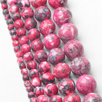 4MM 6MM 8MM 10MM 12MM Natural Red Dots Rainbow Stones Round Spacer Loose Beads For Necklace Bracelet Charms Jewelry Making