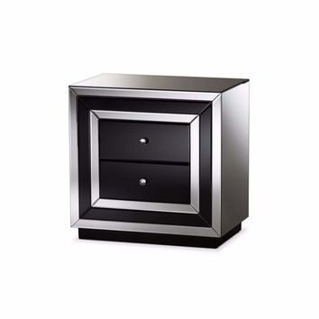Cecilia Hollywood Regency Glamour Style Mirrored 2-Drawer Nightstand By Baxton Studio