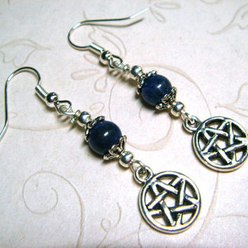 Wiccan Earrings Pagan Jewelry Pentacle Sodalite Blue Metaphysical Spiritual Witchcraft Jewelry Handfasting Pentagram Earrings Gift for Her
