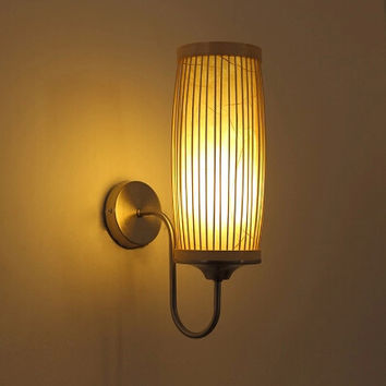 Brief Wall Lamp Rustic Bed Lamps Wall Lamp Corridor Lights Stair Wall Lamp Japanese Style Wall Lights Bamboo Shipping