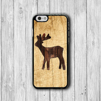 Wood Reindeer Burn iPhone 6 Case Animal Brown Wooden iPhone 6 Plus, iPhone 5S Clock, iPhone 5 Case, iPhone 5C Case, iPhone 4S Case, iPhone 4
