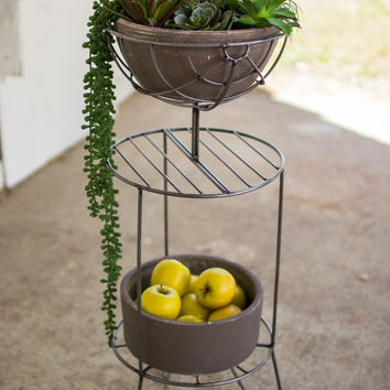 Wire Stand with Grey Clay Bowl & Planter