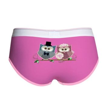 WEDDING OWLS ART WOMEN'S BOY BRIEF