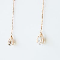 18K Rose Gold Plated Austrian crystal long earrings