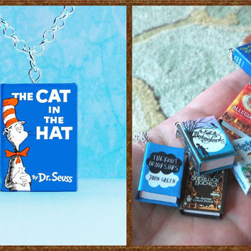 The Cat In The Hat- Micro Mini Book Necklace