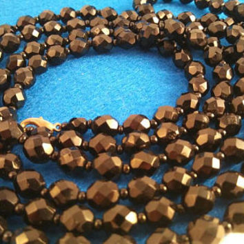 Vintage Black Glass Beaded Long Flapper Length Necklace ** 1960's Collectible Jewelry ** Mad Men Mod ** Mid Century Mod