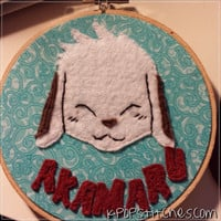 Naruto Akamaru anime dog felt embroidery hoop wall art