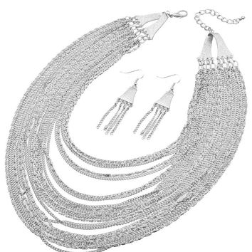 Chain Layered Necklace Set - 18 Inches