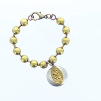 Beaded Bracelet, Ball Chain with St. Christopher