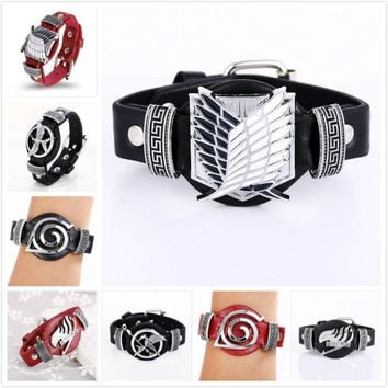 Anime Punk Style Leather Bracelets Attack On Titan Bleach Death Note Fairy Tail Naruto