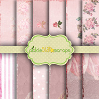 Shabby Rose Vol1 - 12 Digital Printable Scrapbook Papers -12x12inch - Grunged Shabby Pink Rose Printable Backgrounds - INSTANT DOWNLOAD