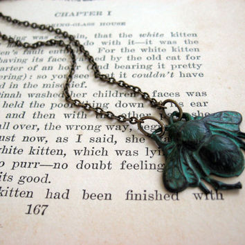 Antiqued Patina Bumble Bee Necklace by sodalex on Etsy