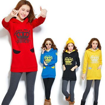 Woman Fashion Active M Xxxl Size Hooded Pullovers Crown Printing Plus Thick Velvet Hip Long Tops Sweatshirts Hoodies