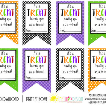 Printable Halloween Gift Tags, It's a TREAT Having You as a Friend Halloween Gift Tags by SUNSHINETULIPDESIGN