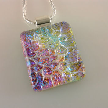 Dichroic Glass Pendant, Fused Glass Jewelry, Rainbow Silver Necklace