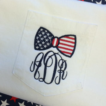 Monogrammed Bow American Flag WHITE Comfort Colors Pocket tee Font MASTER CIRCLE in navy