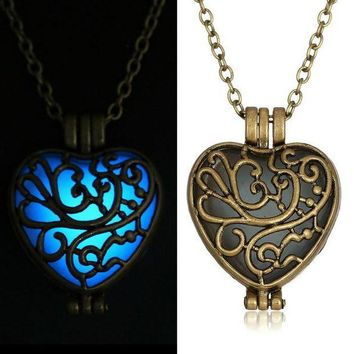 ONETOW Antique  Pendant Necklaces Glow In The Dark suspension Locket copper Hollow Glowing Stone necklace Heart Statement Choker Women