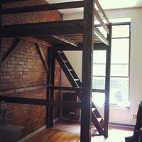 6' or lower clearance Stained Queen Loft Bed w/ Side Ladder (2 Rails all the way around)