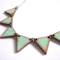 Geometric Necklace, Wood Triangles Necklace,Bunting Necklace,Geometric Jewelry