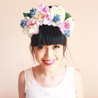 statement flower crown headband  // blue pink cream by kisforkani