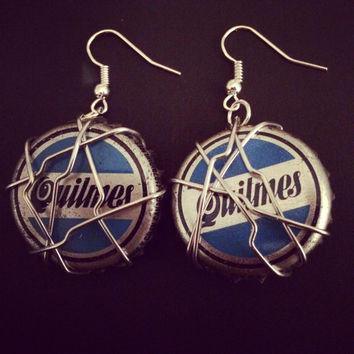 Upcycled Beer Bottle Cap Quilmes Earrings. Recycled Jewelry