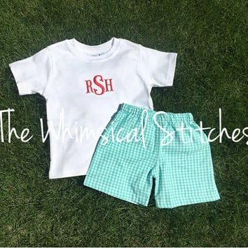 Personalized Boys Outfit - Boys Easter Outfit - Initial Shirt - Boys Monogrammed Shirt - Boys Applique Shirt - Boys Shirt and Shorts Set