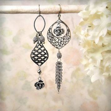 Moroccan Rose OOAK Asymmetrical Assemblage Earrings, Filigree Mixed Metals Dangle Earrings, Tribal Bohemian Gypsy Sterling Bronze Earrings