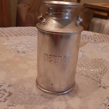 Vintage Lidded Aluminum Milk Jug Shaped Pepper Spice Shaker Kitchen Accessory