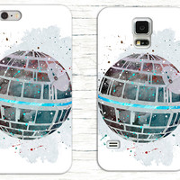 Star Wars Death Star Watercolor Phone Case, Disney iPhone Case