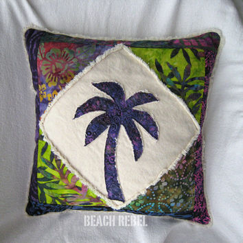 Quilted patchwork palm tree boho pillow cover, with purple, green, multi color batiks and natural distressed denim 18""