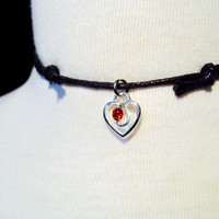 Valentines Day Heart Choker Necklace ~ Red Heart Necklace ~ Black Choker ~ 90s Style ~ Grunge Jewelry ~ Heart Charm