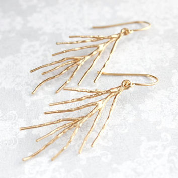 Gold Twig Earrings Long Dangle Gold Branch Earrings Nature Inspired Woodland Wedding Bridesmaids Gifts Lightweight Nickel Free Twig jewelry