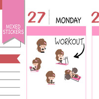 Mixed Workout Stickers Fitness Fitness Sticker Emely Stickers Cute Stickers Erin Condren Functional Stickers Kawaii Stickers NR1574