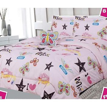 Pink Butterfly Hollywood Kids Comforter Set - 6 Piece Set - Twin Size
