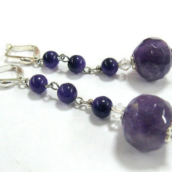 Amethyst Long Earrings  Purple Semiprecious natural stone dangle earrings beaded chain Silver plated ear wires Bohemian Jewelry
