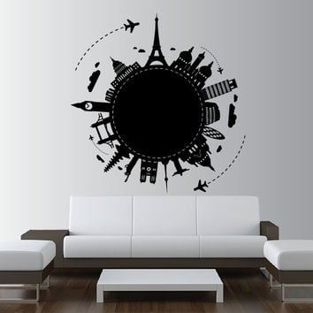 Wall Decal Vinyl Sticker Art Decor Design World Country City Paris Rome  Big Ben NY globe Plane Map travel showplace Dorm Bedroom (m1344)