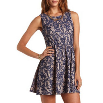 ZIP-BACK LACE SKATER DRESS