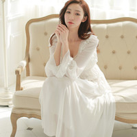 Free Shipping Chiffon Silk Princess Nightdress Long Pyjamas White and Pink Women's Nightgowns roupas de dormir femininas