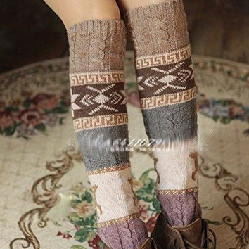 British Style Knit High Knee Leg Warmers Women Girls Leggings Socks