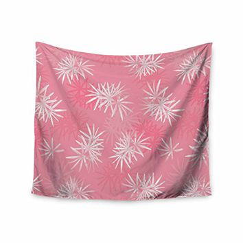 KESS InHouse Julia Grifol Paradise Flowers Pink White Vector Wall Tapestry