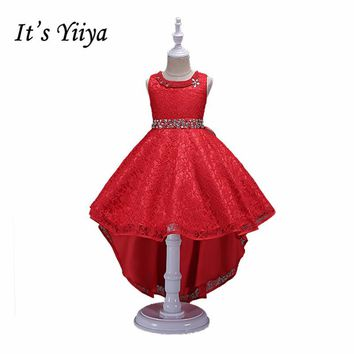 It's YiiYa 6 Colors Bow Crystal on waist  O-neck Sleeveless  Kids Princess Flower girls Dress Evening Gowns Prom dresses TS038