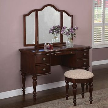 Marquis Cherry finish wood bedroom Vanity, Mirror & Bench set