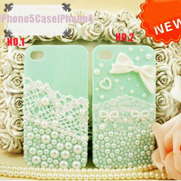 iPhone 5 Case, iPhone 4 case, Cute iPhone 5 case pearls, cute iphone 4 case bow, lace iphone 5 cases, lace iphone 4 case iphone 4s skin